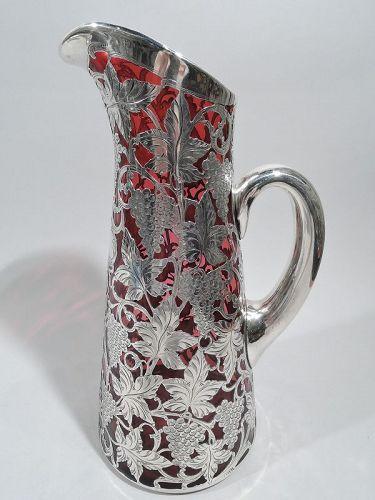 Antique Alvin Art Nouveau Red Silver Overlay Claret Jug