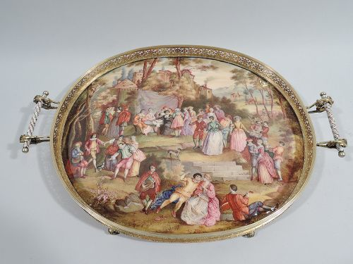 Antique Viennese Enamel Rococo Fete Champetre Footed Tray C 1880