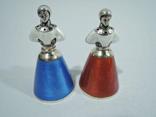Pair of Norwegian Nordic Novelty Enamel Salt & Pepper Shakers