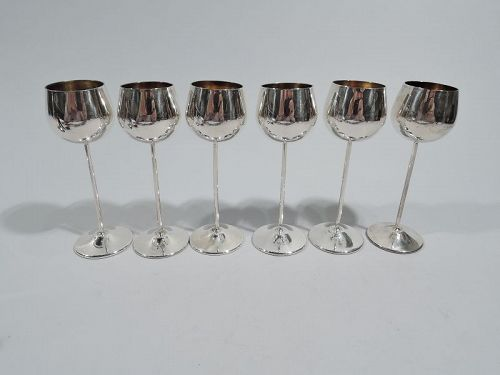 Set of 6 Cartier Midcentury Modern Sterling Silver Cordial Cups