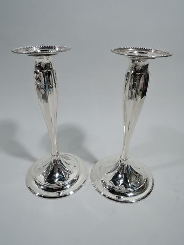 Pair of Antique Tiffany Sterling Silver Star Candlesticks