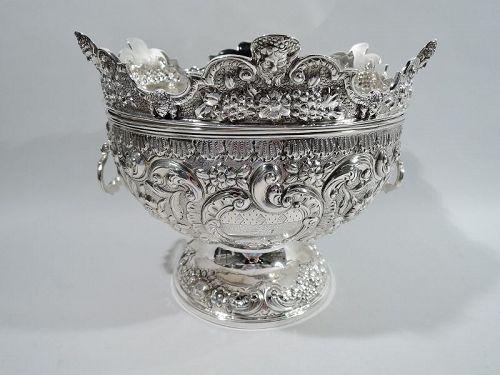 Antique English Georgian Regency Sterling Silver Monteith Bowl 1823