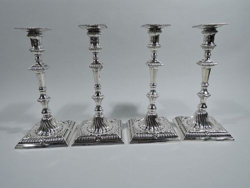Set of 4 English Georgian Sterling Silver Candlesticks by Coker 1762