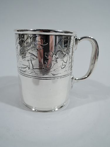 Tiffany American Art Nouveau Sterling Silver Water Babies Cup