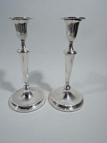 Pair of Matthew Boulton Georgian Neoclassical Candlesticks 1789