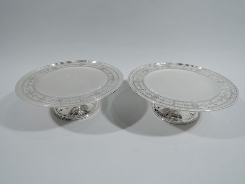 Pair of Antique Tiffany Edwardian Regency Sterling Silver Compotes