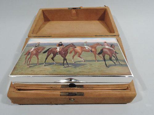 Antique Austrian Silver & Enamel Horse Jockey Box in Original Case