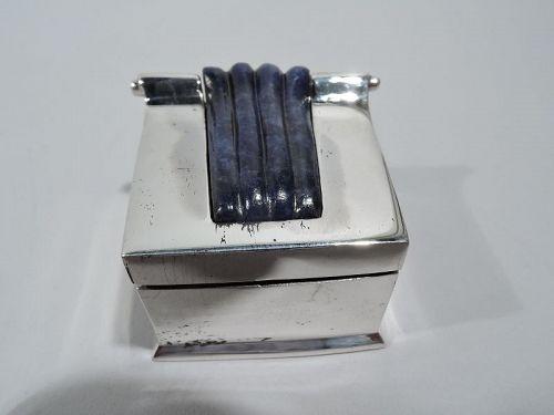 Brazilian Modern Classical Silver and Lapis Lazuli Pillbox by Vancox