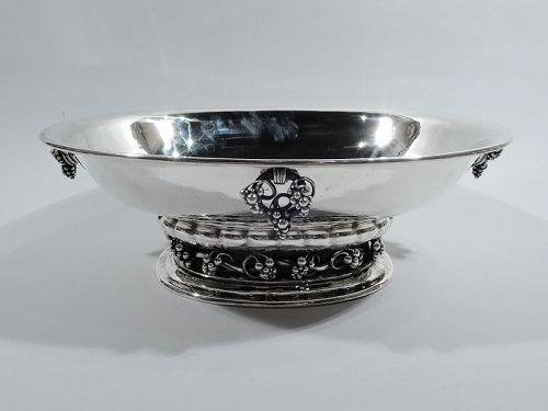 Georg Jensen Art Nouveau Sterling Silver Grape Centerpiece Bowl