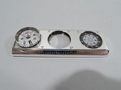 Tiffany Portable Sterling Silver Ruler with Compass and Thermometer