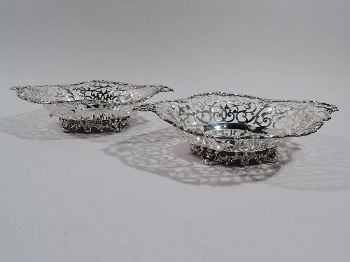 Pair of Antique Howard Edwardian Sterling Silver Openwork Bowls