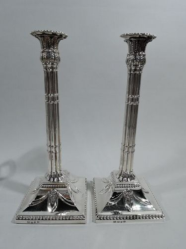 Pair of English Georgian Neoclassical Sterling Silver Candlesticks