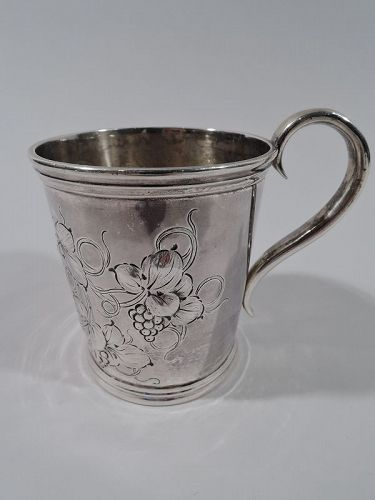 American Victorian Classical Coin Silver Leaf & Berry Baby Cup C 1850
