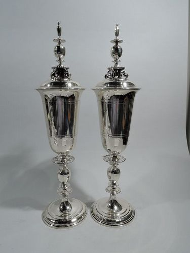Pair of Tiffany Art Deco Classical Sterling Silver Covered Urns