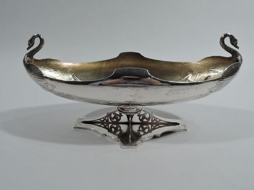 Antique Whiting Sterling Silver Swan Bowl with Japonesque Cattails