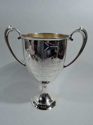 Antique Gorham Edwardian Sterling Silver & Enamel Yacht Trophy Cup