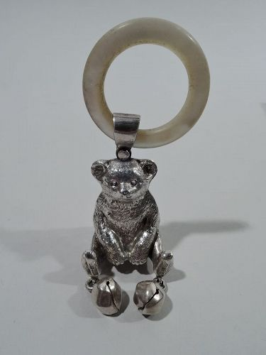 Antique English Edwardian Sterling Silver Teddy Bear Rattle 1909