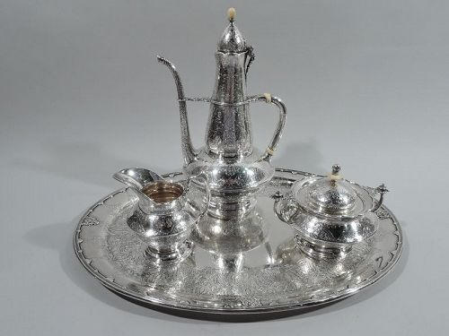Antique Tiffany Sterling Silver Coffee Set on Tray in Persian Pattern
