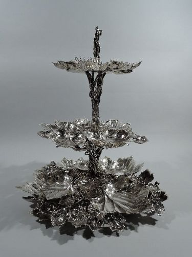 Buccellati Sterling Silver Leaf and Branch 3-Tier Serving Stand