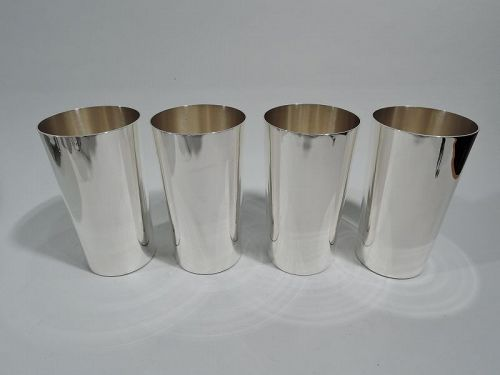 Set of 4 Schofield American Art Deco Sterling Silver Highballs