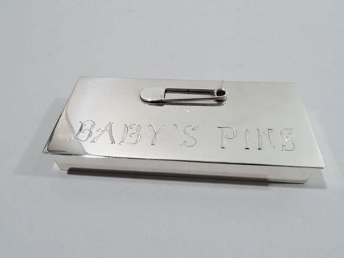Baby Boom-Era Sterling Silver Diaper Pin Box