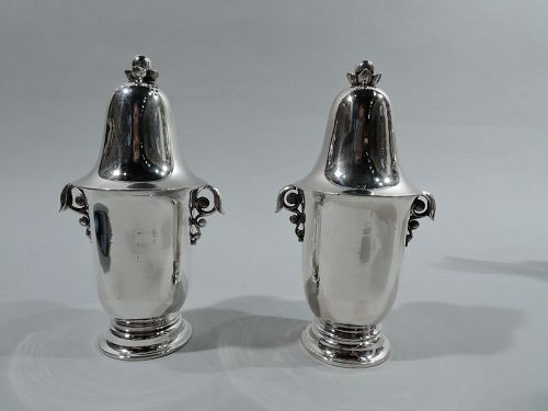 Pair of Early Georg Jensen Sterling Silver Salt & Pepper Shakers
