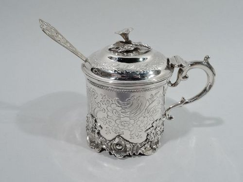 Antique English Victorian Sterling Silver Mustard Pot 1845