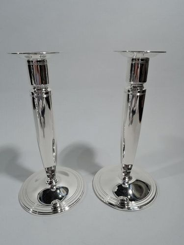 Pair of Tiffany Modern Classical Sterling Silver Candlesticks