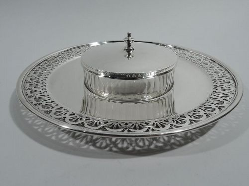 Antique Tiffany Art Deco Sterling Silver & Glass Chip-and-Dip