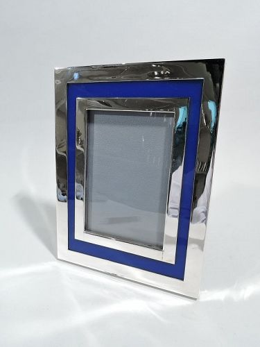 Cartier Midcentury Modern Picture Frame with Striking Blue Border