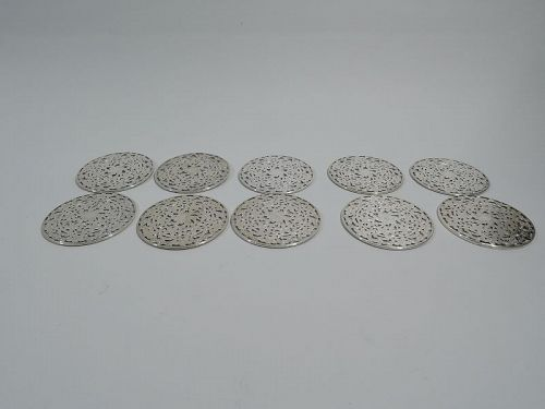 Set of 10 American Art Nouveau Silver Overlay Coasters by Webster