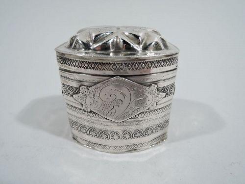 Antique Dutch Classical Silver Peppermint Box C 1880