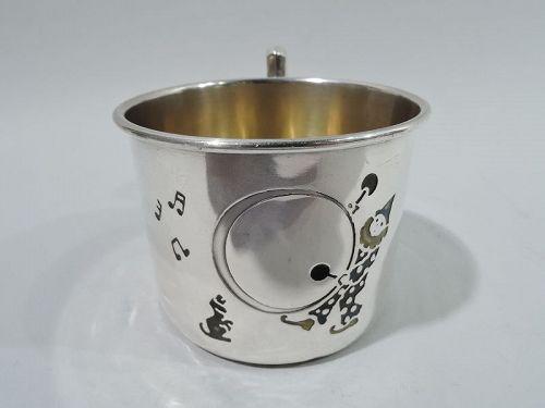 American Art Deco Sterling Silver & Enamel Drumming Clown Baby Cup