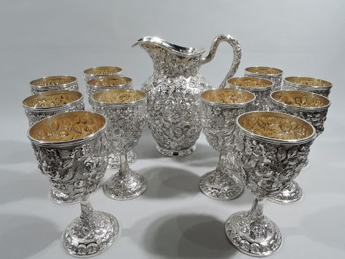 Baltimore Repousse Sterling Silver Drinks Set with Pitcher & Goblets