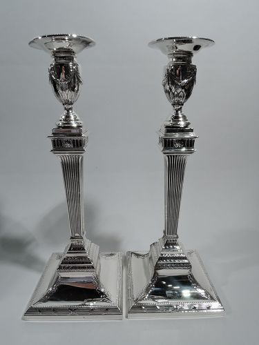 Pair of Tall Antique Cartier Classical Sterling Silver Candlesticks