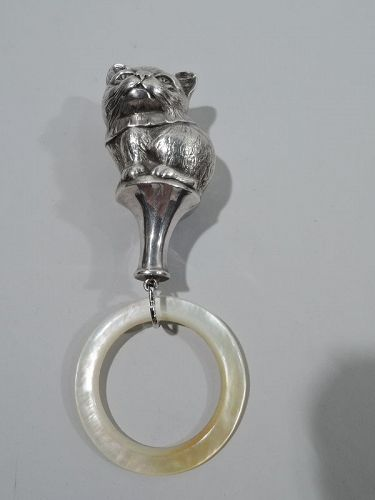 Antique American Sterling Silver Rattle with Kitty Sitting Pretty