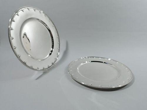 Pair of Antique Tiffany Saint Dunstan Sterling Silver Dinner Plates
