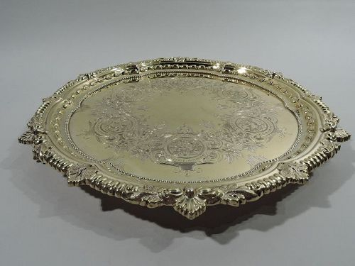 Sumptuous Regency Revival Gilt Sterling Silver Salver Tray by Howard