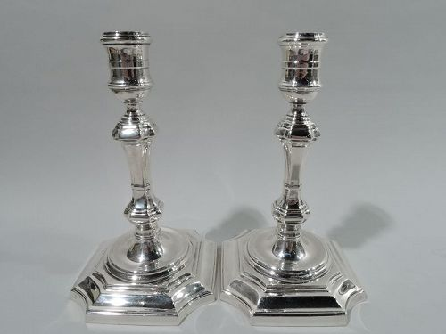 Pair of Antique Georgian-Style Sterling Silver Candlesticks