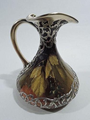 Rookwood American Art Nouveau Craftsman Silver Overlay Pitcher