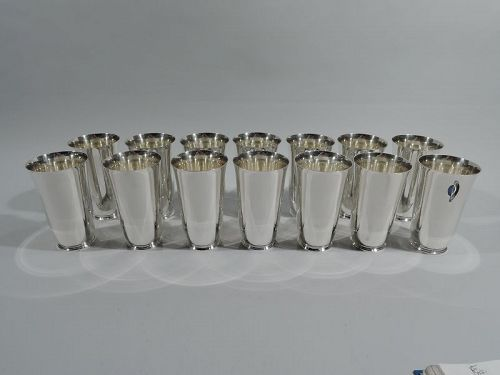 Set of 14 Tiffany Art Deco Sterling Silver Highball Barware Cups