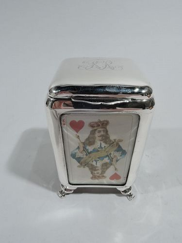 Antique English Victorian Sterling Silver Playing Cards Box