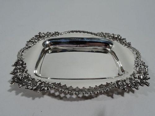 Antique American Edwardian Pierced Sterling Silver Dish