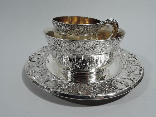 Antique Gorham Zodiac Sterling Silver 3-Piece Baby Set 1915
