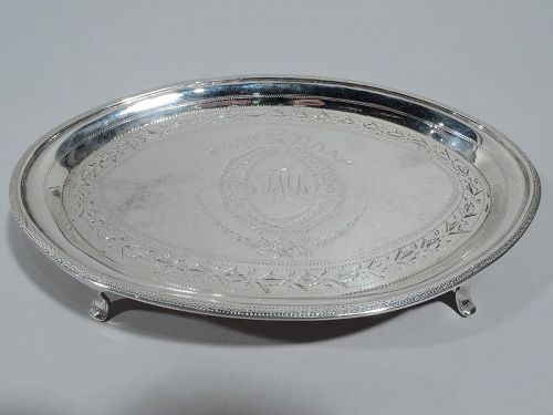 Antique English Georgian Neoclassical Sterling Silver Card Tray 1813