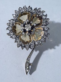 Antique Citrine And Diamond Flower Shaped Brooch 1880