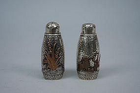 Gorham Silver & Mixed Metal Salt & Pepper Shakers C 1880
