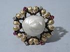 Art Nouveau 14k Pearl Ruby Diamond Brooch Circa 1890