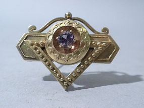 Antique American 14k Gold And Amethyst Pin Circa 1890