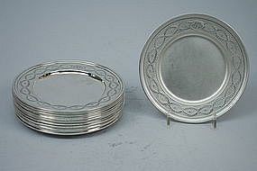 Tiffany American Sterling Silver Butter Plates C 1920